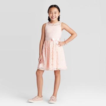 Zenzi Girls' Lace Dress - Cat & Jack Blush S, Girl's, Size: