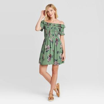Women's Floral Print Short Sleeve Smocked Top Dress - Xhilaration Green