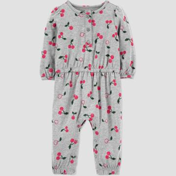 Baby Girls' Cherry Romper - Just One You Made By Carter's Gray Newborn, Red/gray