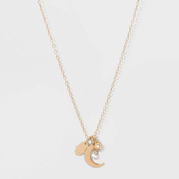 No Brand Petitecubic Zirconia With Hamsa And Moon And Small Disc Short Necklace - Gold, Women's