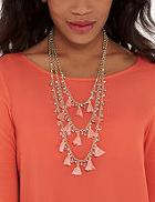 The Limited 3-stranded Bead & Tassel Necklace