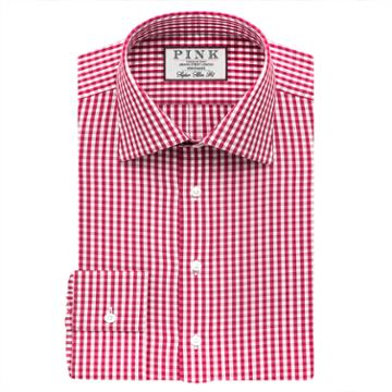Thomas Pink Trueman Check Super Slim Fit Button Cuff Shirt  Deep Pink/white