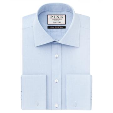 Thomas Pink Archer Texture Classic Fit Double Cuff Shirt Pale Blue/white  Long
