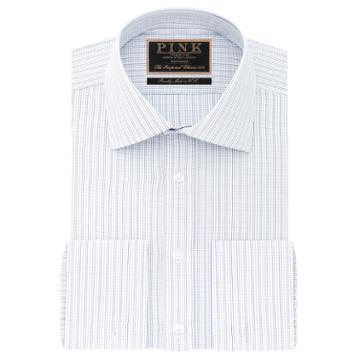 Thomas Pink George Check Classic Fit Double Cuff Shirt Blue/white  Regular