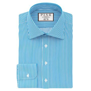 Thomas Pink Grant Stripe Slim Fit Button Cuff Shirt Turquoise/white  Long