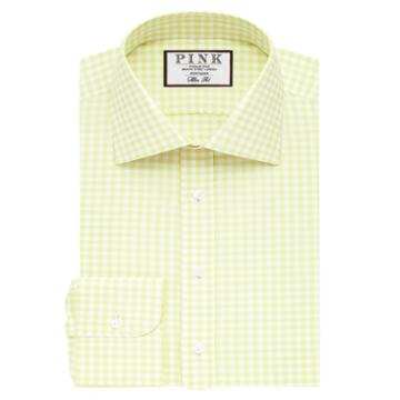 Thomas Pink Summers Check Slim Fit Button Cuff Shirt Green/white  Regular