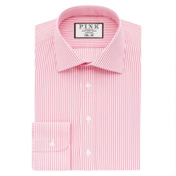Thomas Pink Grant Stripe Slim Fit Button Cuff Shirt Pink/white  Regular