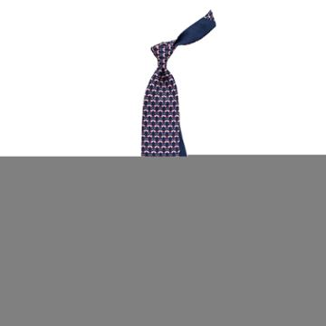 Thomas Pink Flamingo Heart Printed Tie Navy/pink