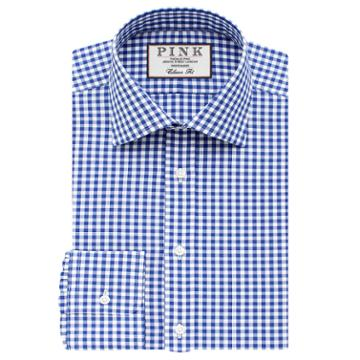 Thomas Pink Summers Check Classic Fit Button Cuff Shirt Blue/white  Long