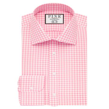 Thomas Pink Summers Check Slim Fit Button Cuff Shirt Pink/white  Long