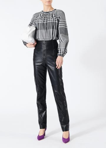 Leather High Waisted Zip Front Pants