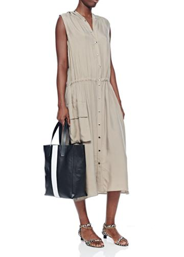 Cupro Anorak Sleeveless Midi Dress