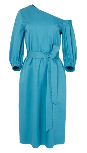 Satin Poplin Bell Sleeve Midi Dress