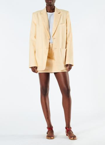 Linen Canvas Long Blazer