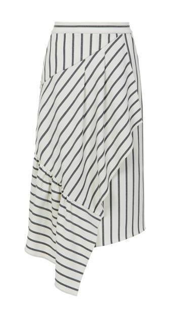 Lucci Stripe Asymmetric Ruffle Skirt