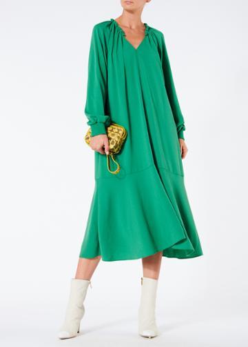Savanna Crepe Split Neck Ruffle Dress With Slip