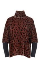 Cheetah On Silk Velvet Dolman Turtleneck
