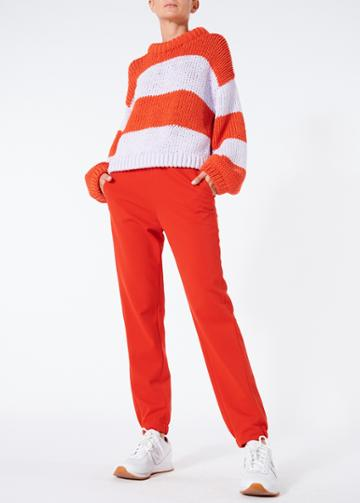 Tube Yarn Striped Cropped Pullover