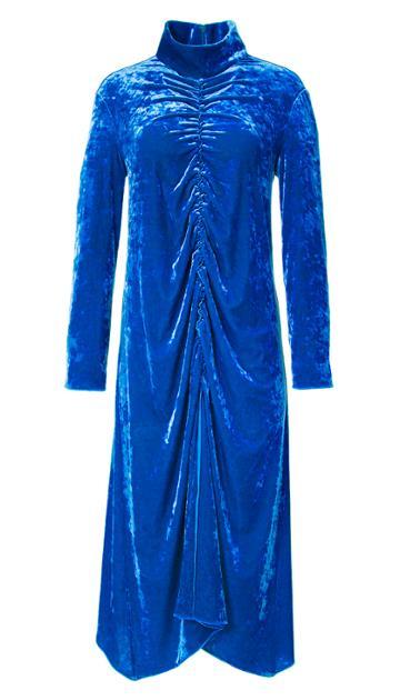 Stretch Velvet Shirred Front Dress