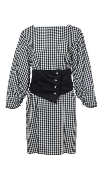 Viscose Gingham Boatneck Dress With Removable Corset