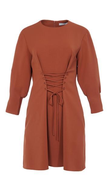 Drape Twill Lace Up Corset Short Dress