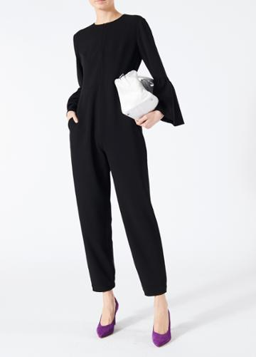 Structured Crepe Bell Sleeve Jumpsuit