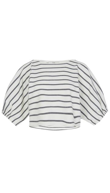 Lucci Stripe Dolman Sleeve Crop Top