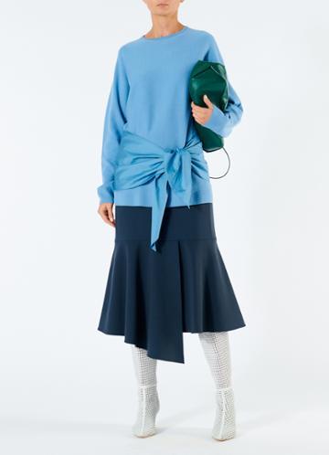 Woven Mix Wool Tie Peplum Sweater