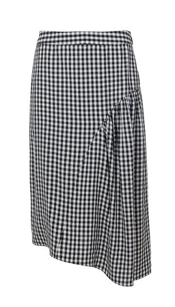 Viscose Gingham Shirred Skirt