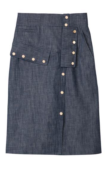 Raw Denim Snap Skirt