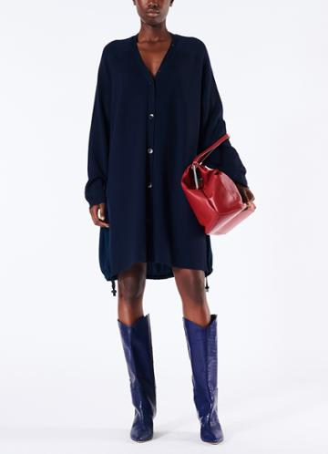 Luxe Merino Wool Silk Back Cardigan Dress