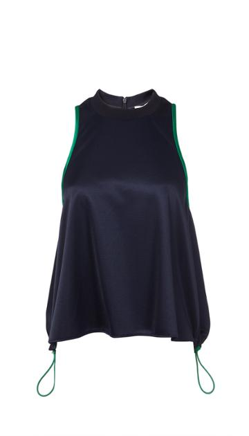 Tech Pique Sleeveless Top With Drawstring