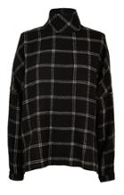 Salome Plaid Mockneck Top