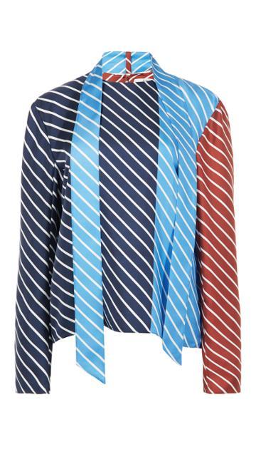 Delphina Stripe Tess Top With Neck Tie