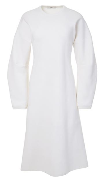 Sculpted Wool Sweater Dress With Zip Detail