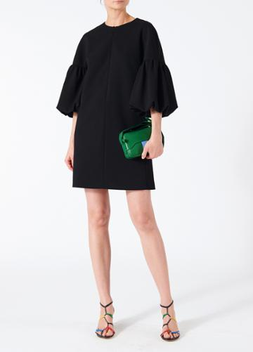 Structured Crepe Balloon Sleeve Dress