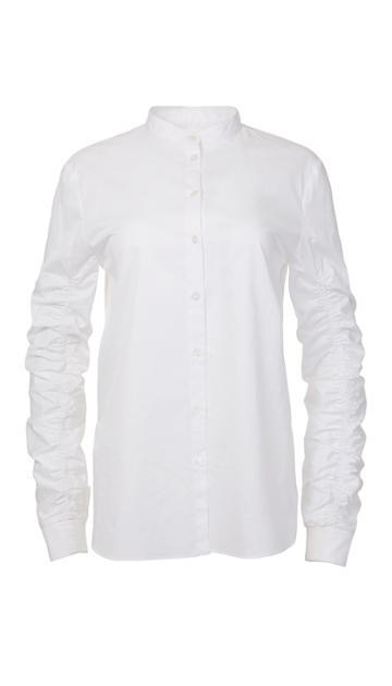 Satin Poplin Shirred Sleeve Shirt