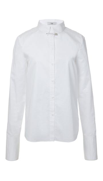 Satin Poplin French Cuff Shirt With Pin Detail