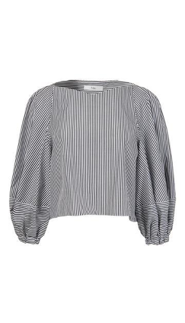 Stripe Shirting Bell Sleeve Crop Top