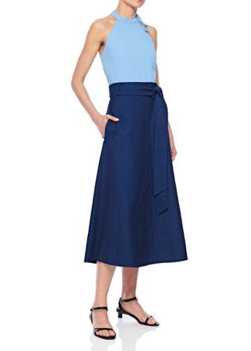 Lightweight Denim Wrap Skirt