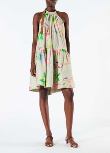 Poplin Short Halter Neck Dress