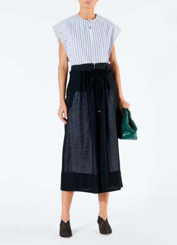 Gauze Overlay Double Waist Skirt