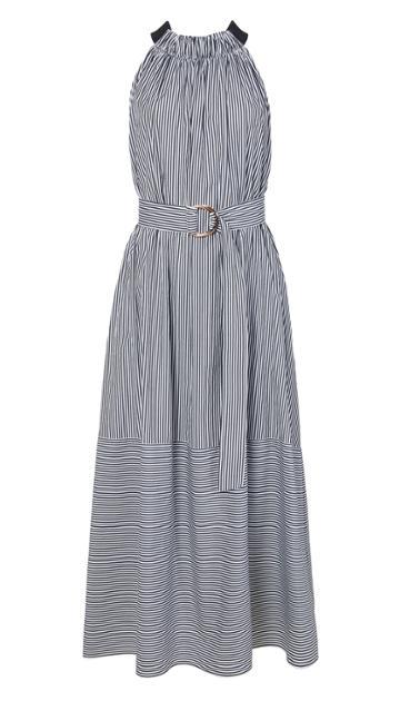 Stripe Shirting Tie Back Dress