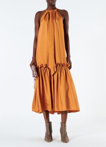 Mendini Twill Tie Neck Dress