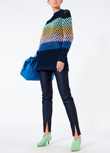 Stripe Crochet Oversized Tunic Pullover