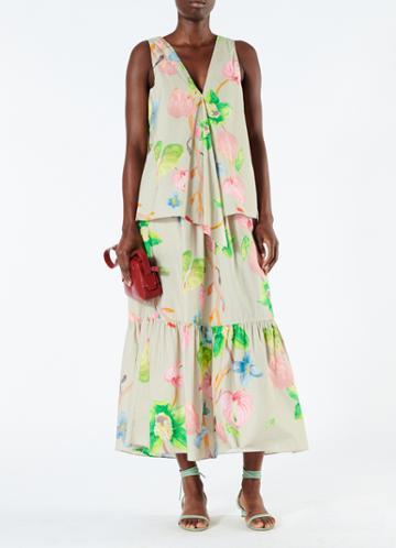 Poplin Ruffle Skirt