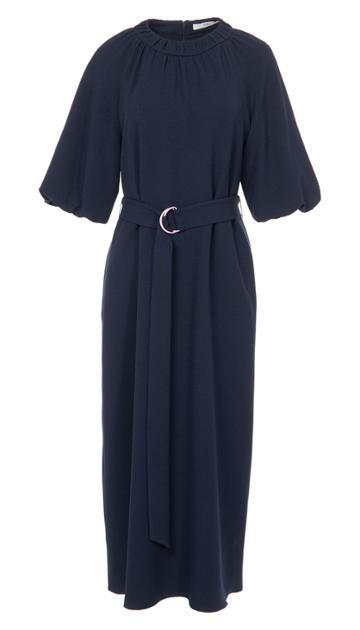 Mica Crepe Shirred Neck Dress