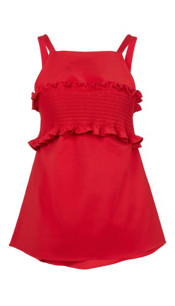 Stretch Faille Smocking Bandeau Top
