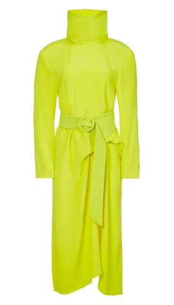 Silk Tess Midi Dress With Removable Neck Piece