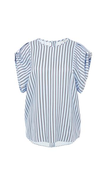 Viscose Stripe Buckle Sleeve Top With Button Back